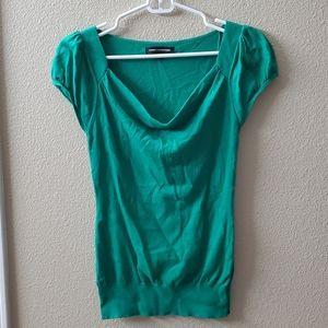 Express Green Cowl Neck Short Sleeve Sweater S